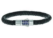 Phillip Gavriel Sterling Silver Blue Sapphire 7mm Black Leather Weave Bracelet