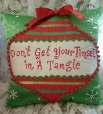 CUTE Lime Green Don't Get Your Tinsel In A Tangle 10 x 10 Christmas Pillow