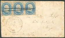 1860s, 1¢ strip of 3 w/ms cancel Civil War Patriotic cover w/West Port MA cxl