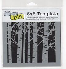 STENCIL - ASPEN TREES 6x6 inch Mixed Media Fiber Arts Texturing COLLAGE