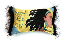 Good Hair Day ~ African American Woman Tapestry Word Pillow ~ Gbaby Designs