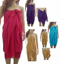 PLAIN LARGE Sarong Beach Pareo Dress Wrap Swimwear Cover Up Unisex 180 X 100cm