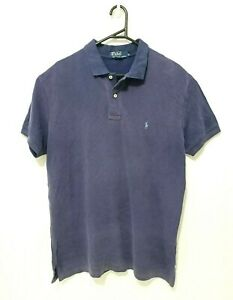 Polo Ralph Lauren Mens Shirt Size L Purple Short Sleeve Collared Cotton Rugby