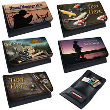 More details for personalised tobacco pouch fishing rolling baccy wallet smoking gift fisherman