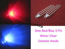 50pcs 3mm Dual Bi-Color Red/Blue 3-Pin Water Clear Bright Led Common Anode Leds
