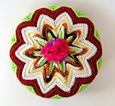 "Vintage Funky Colorful 12"" Round Crocheted Pillow ~ Multi Yellow Maroon Fuchsia"