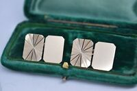 Vintage 9ct Gold Art Deco cufflinks with a Diamond cut design 7.46g #B767