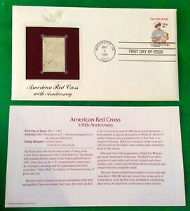 American Red Cross 100th Anniversary First Day Issue 22k Gold Foil FDC