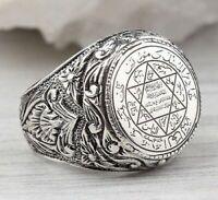 925 Silver Tetragrammaton Ceremonial Magic Seal of Solomon Ring Jewelry Size6-10