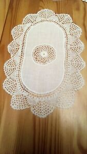 10 x 7 Inch Oval Frilly Edge Linen Table Centre White 100% Cotton New UK Stock