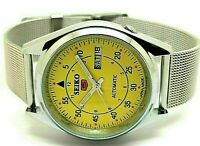 Seiko 5 automatic mens steel yellow dial 6309 vintage day/date japan watch run