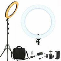 """18"""" Stand Photo Video Studio Makeup Dimmable Diva LED Ring Light Kit Diffuser w/"""