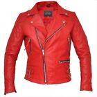 Men's Handmade BRANDO Vintage Motorcycle Classic Bikers Red Real Leather Jacket