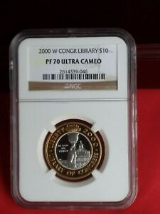 2000 W Library of Congress Bi-metallic Gold Platinum $10 NGC PF 70 UC