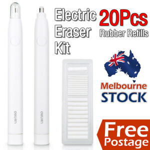 Electric Pencil Eraser Kit with 22pcs Refills Highlights Sketch Draw AdvanceTech