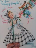 Vtg Gingham Dress LADY w Dust Mop Happy Couple Doehla CONGRATS GREETING CARD