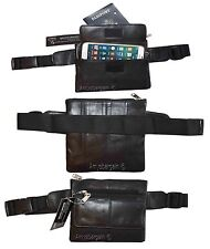Flat Waist Pouch, Leather Mini waist bag Small Waist pouch Fanny Pack, up to 50""