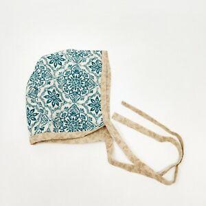 Handmade Baby Bonnet 3-6 Month Blue Tan Brown Floral Baby Girl Hat Summer Spring