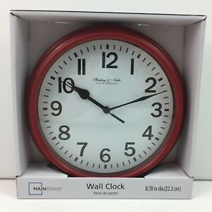 Red Kitchen Wall Clock Plastic Analog Battery Operated