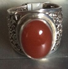 Sterling Silver and African Carnelian Stone Ring Size 6