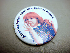 Vintage Kentucky Fried Chicken Girl Licking Fingers Advertising Pinback Button