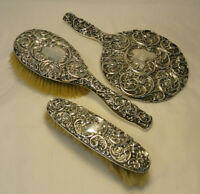 Antique Whiting Sterling Silver .925 Mirror Clothes Hair Brush Vanity Set ZC3-25