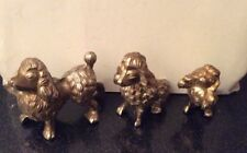3 Descending Size White Metal Poodle Figurines 1 Standing, 1 Sitting, 1 Begging
