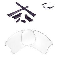 New Walleva Clear Lenses And Black Rubber Kit For Oakley Flak Jacket XLJ