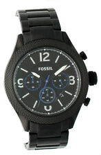 NEW-FOSSIL BLACK TONE,STAINLESS STEEL,CHRONO,BLUE ACCENT BRACELET WATCH BQ2108IE