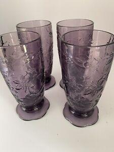 Four Princess House Fantasia  Amethyst Purple Iced Tea Goblet  Beverage Glasses