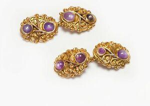Antique Marcus & Co. Art Nouveau Gold Star Sapphire Cufflinks