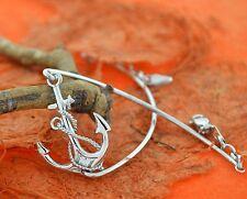 Rope Anchor Silver Bangle-Sterling Silver-Nautical,Wrap Bangle,Sea Life,Sailor