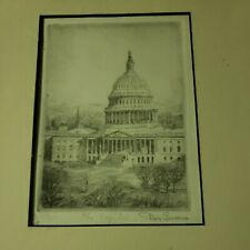 """Original Etching by Don Swann """"The Capital"""" Artist Signed 202/300"""