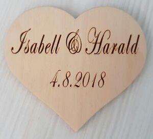 Gravurherz Holz Herz mit individueller Gravur z.B. für Gästebuch Hochzeit