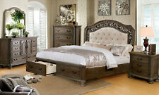 NEW Rustic Natural Brown Bedroom Furniture - 5pcs Queen Storage Bed Set ICA1