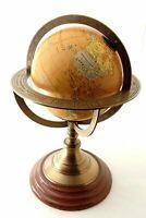 "11"" Antique Brass World Globe Map on Wooden Base Nautical Desktop Decor Globe."