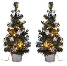 2x LED Weihnachtsbaum künstlicher Tannenbaum Christbaum Tanne Deko 45 cm silber