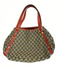 GUCCI GG Logo Monogram Medium Black Canvas Red Leather Tote Bag 130736