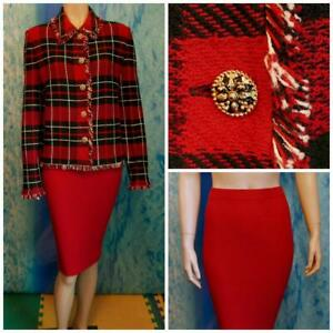 ST. JOHN Collection Knits Red Black Jacket Skirt L 14 12 2pc Suit Cream Sequined