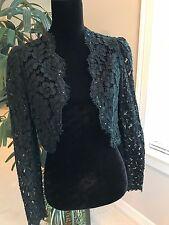 Vintage 1980s Black Lace Evening Bolero Jacket Formal Size 6