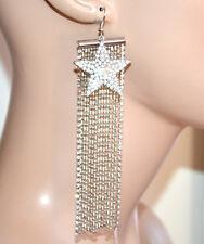 BOUCLES d oreilles pendantes femme argent strass fils longs pendentif étoile G35