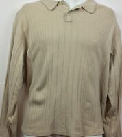 Geoffrey Beene Beige Large Mens Long Sleeve Sweater Shirt Knit Cotton Casual