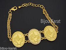 Tugra Münz Gold Münzen Armband 24 Karat vergoldet Altin Kaplama Bilezik Bileklik