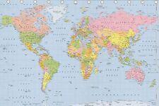 Laminato Mappa del mondo Atlante Politico Poster Muro Ultima NUOVO di zecca