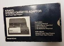 KRACO Stereo Cassette Adaptor for 8-Track Tape Players + Original Box Vtg KCA-8