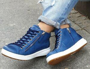 ANDREA CONTI Schuh 3400390 Jeans Blau High-Top Echtleder Sneaker Wechselfußbett