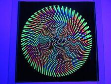Vintage Psychedelic HYPNO MANDALA Blacklight Poster Royal Silk Screen Craft NOS