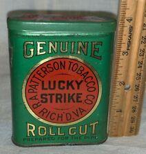 ANTIQUE LUCKY STRIKE TIN LITHO VERTICAL POCKET CAN ROLL CUT TOBACCO RICHMOND #2