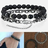 Unique Beaded Bracelet Black Lava Stone Men's Stainless Steel Link Chain Jewelry
