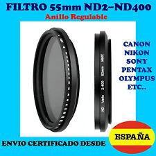 55mm FILTRO DENSIDAD NEUTRA ND2-ND400 OBJETIVO VARIABLE ND4 ND8 ND16 ENV CERTIFI